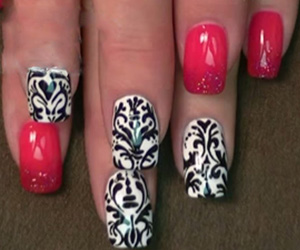 Black And White Damask Nail Nail Art Tutorial