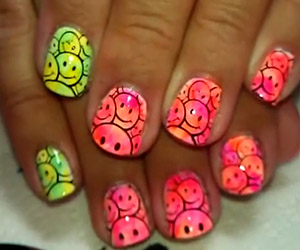 Green Yellow And Pink Orange Hippie Smile Nail Art Tutorial