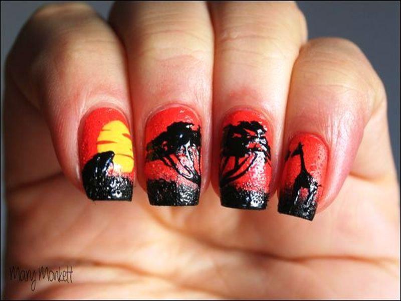 African safari and sunset nail art african safari and sunset prinsesfo Images