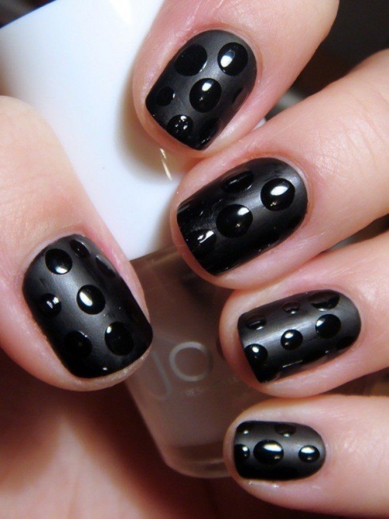 Black Textured Polka Dots