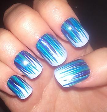 Blue Strokes On White Base Nail Art