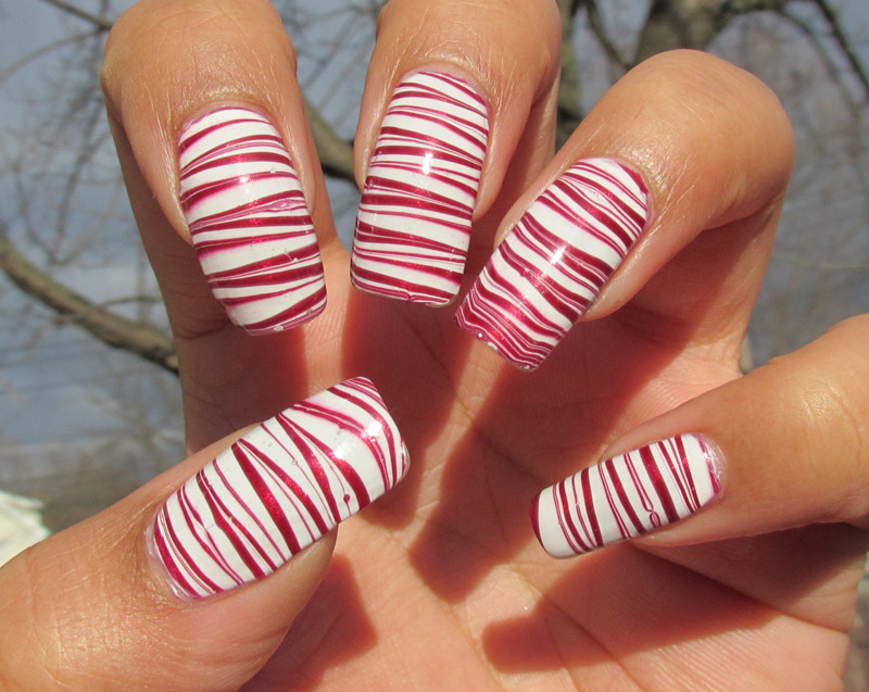 Candy Cane Theme Water Marble Nails