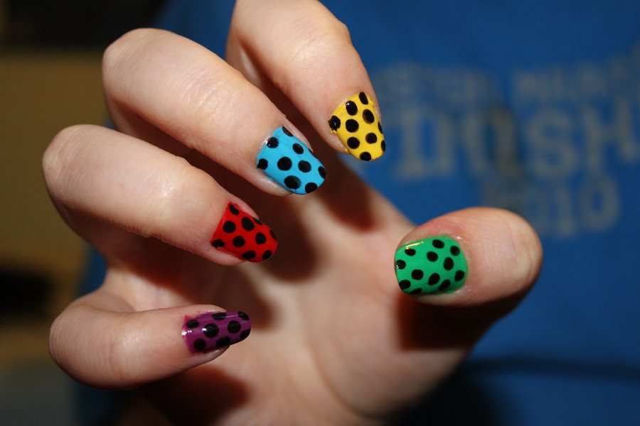 Colorful Nails in Black Polka