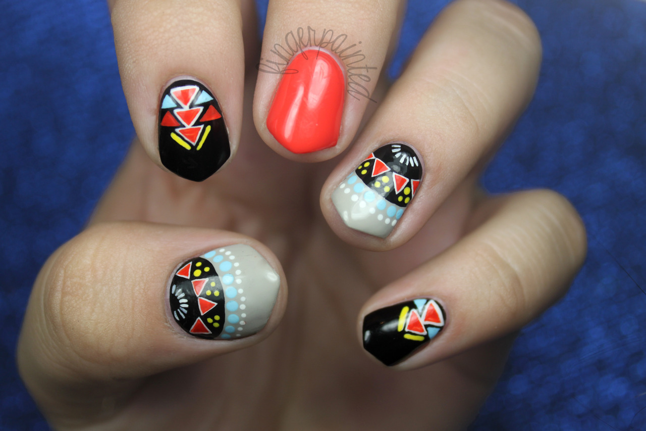 Tribal nail art images nail art and nail design ideas colorful tribal manicure nail art colorful tribal manicure prinsesfo images prinsesfo Image collections