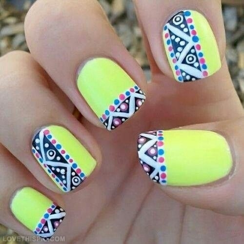 Cool Neon Pop Art Nail Art