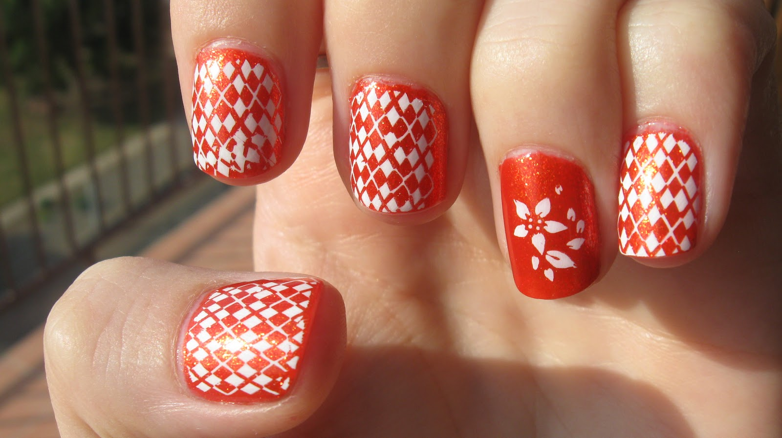 Cute Pink And White Check Print Nail Art