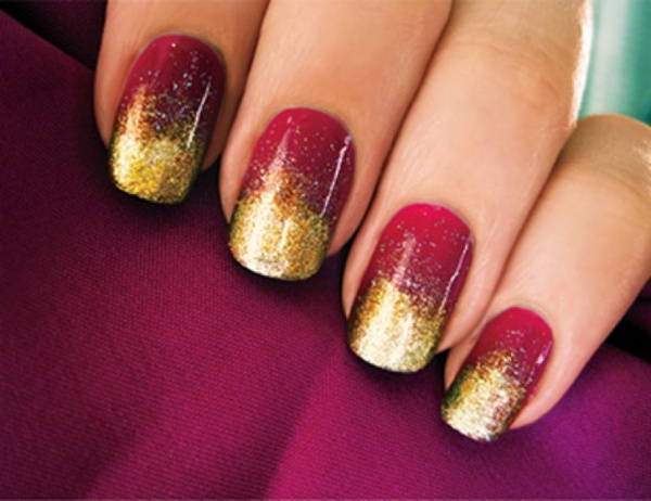 Dark red nails with a golden glitz nail art dark red nails with a golden glitz prinsesfo Choice Image