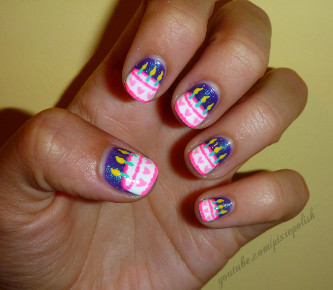 Cake Decorating Nails : Decorate you Birthday Cake on your Nails - Nail Art