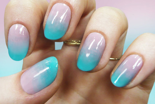 Everyday Delicate Blue Over Pink Nail Art
