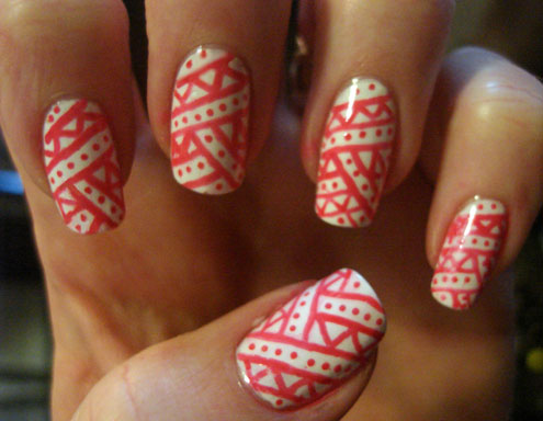 Great Red Design Using Nail Pens Nail Art