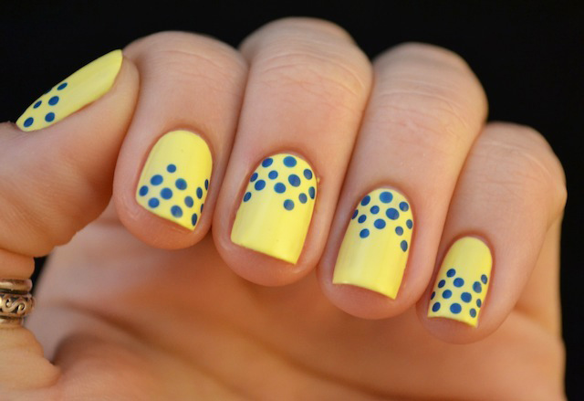 Lemon yellow with blue dots nail art lemon yellow with blue dots prinsesfo Choice Image