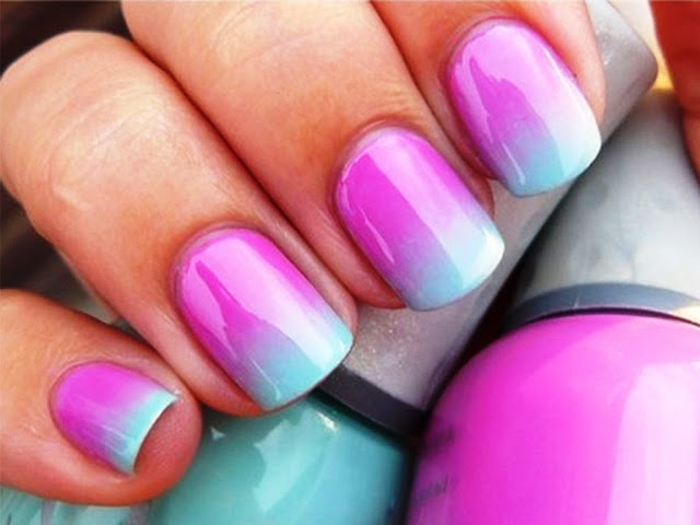Ombre Pink and Light Blue - Nail Art