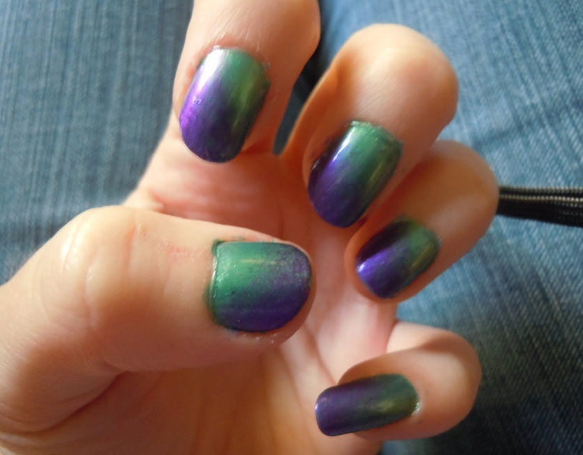 Perfect Blend Of Opulent Green And Luxurious Purple Nail Art