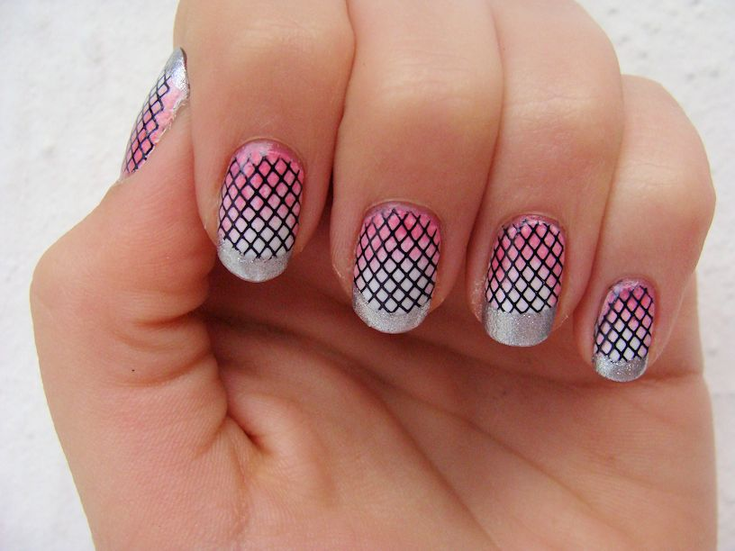 Pink Tiny Cute Check Print Nail Art