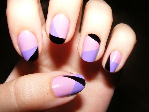 Purple Black Random Strips - Nail Art
