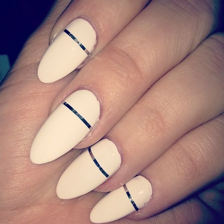 Rock White Nails with Metallic Stripe