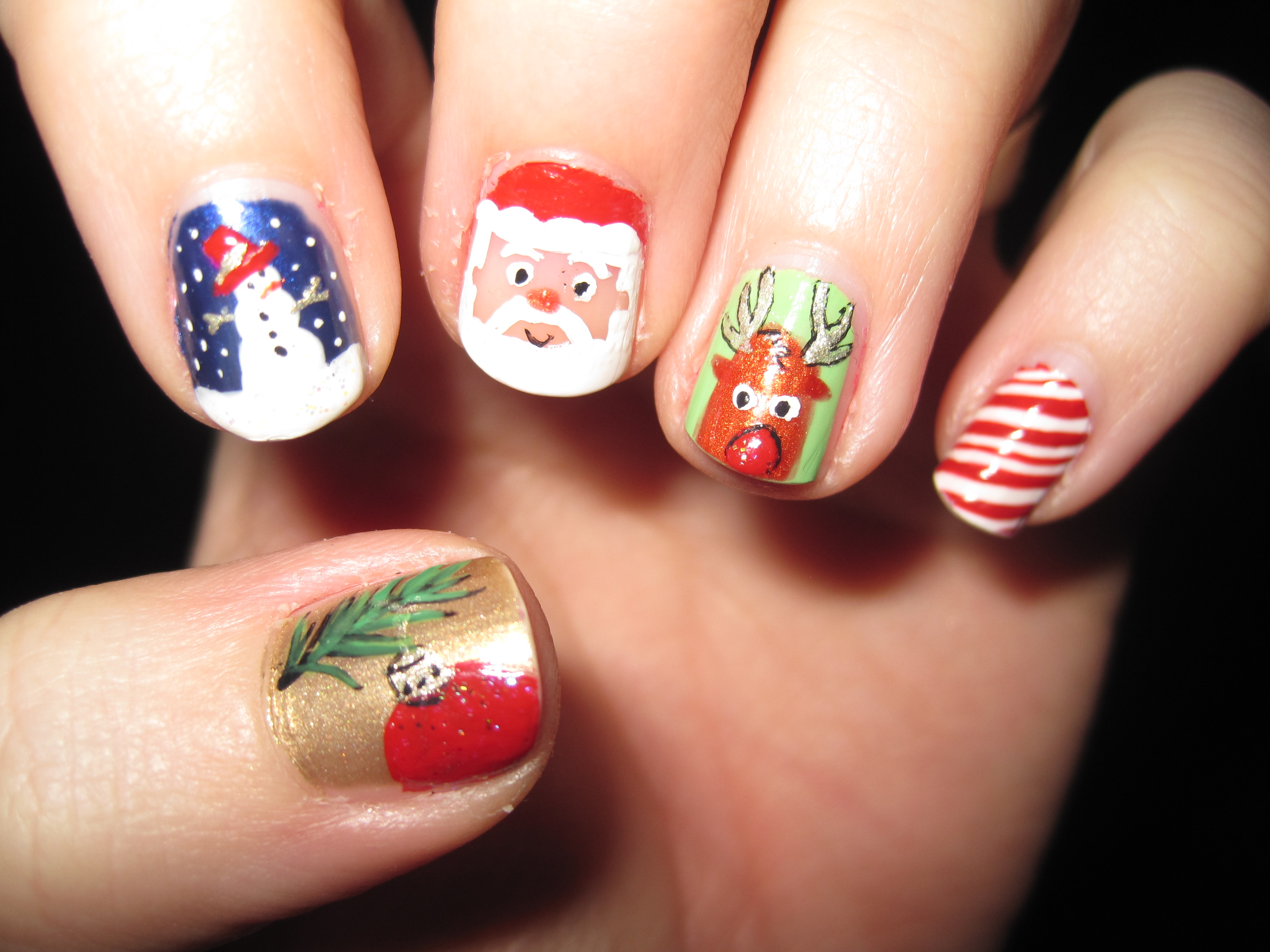 Santa and the Snowman - Nail Art
