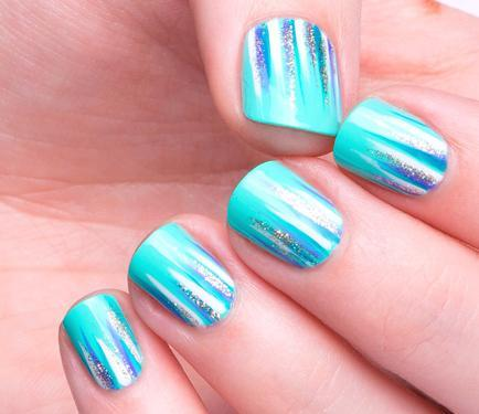Shiny Nails With Cool Aqua Theme Nail Art
