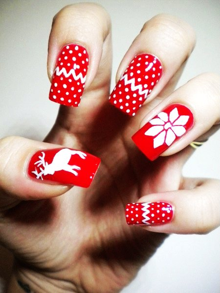 Simple Red and White Winter Design  Nail Art