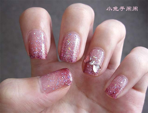 Soothing Pink Glittery Nails