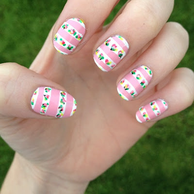 Striped Pink and White Floral