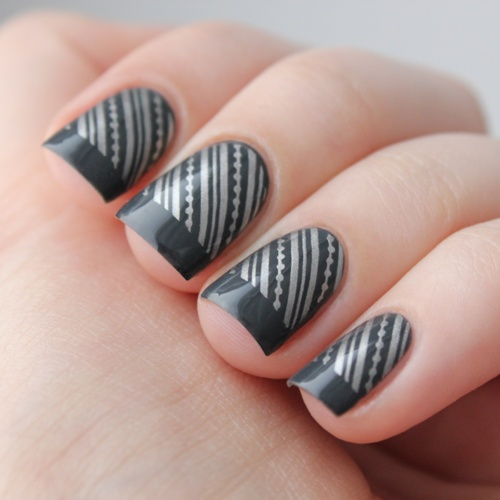 Stylish Black Design with Shiny Silver Stripes.
