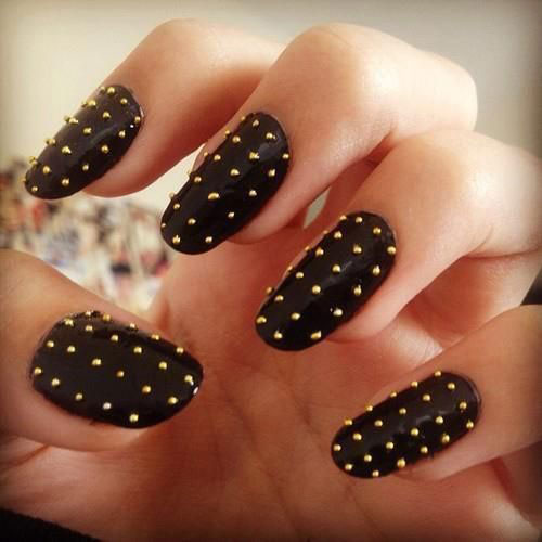 Super Black Pierced Nails with Coarse Surface