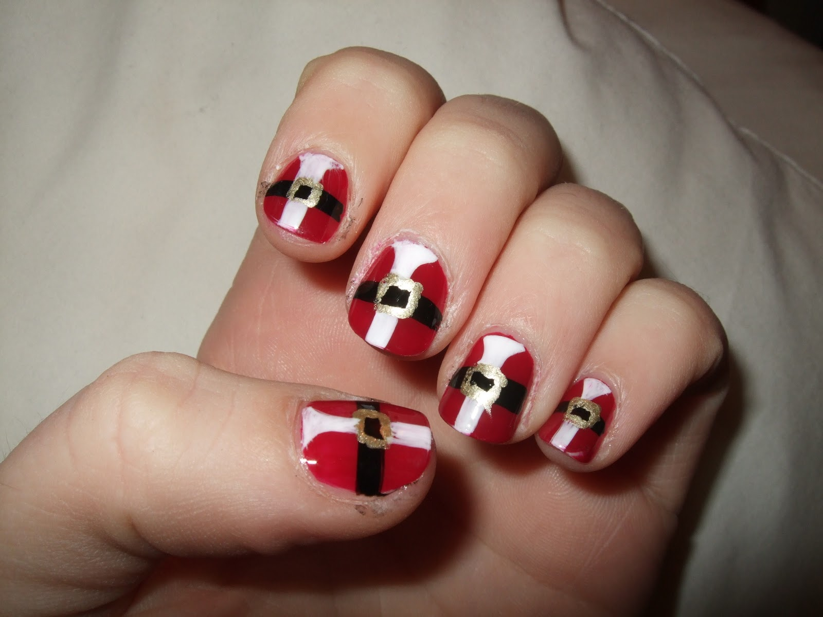 Tri Color Design for Christmas - Nail Art