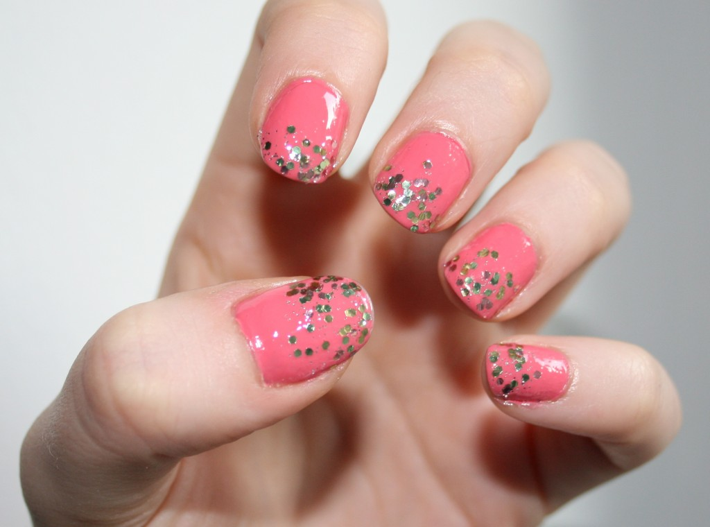 Twinkling pink with green sparkle stones nail art twinkling pink with green sparkle stones prinsesfo Gallery
