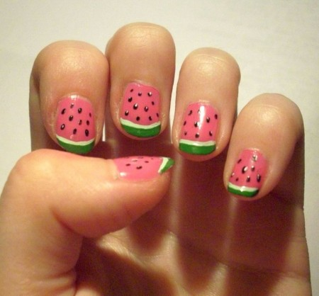 Watermelon Designed Nails