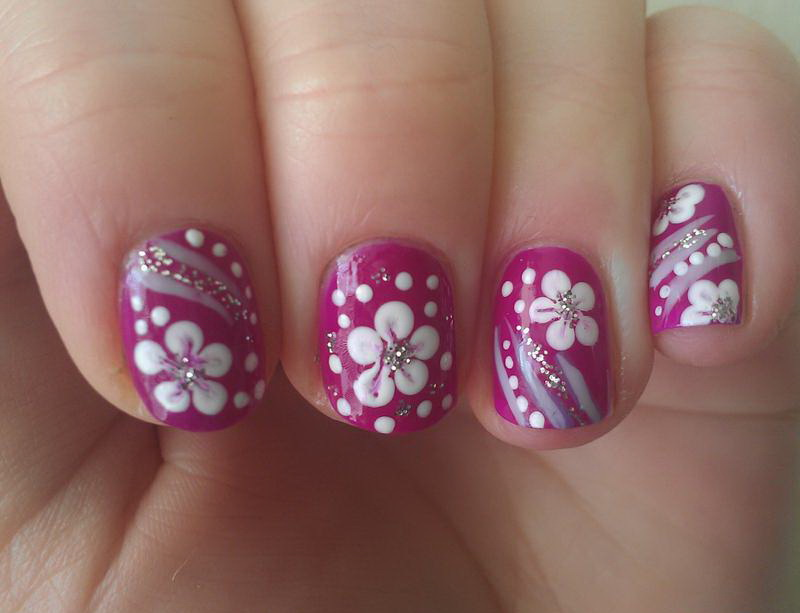 White flower on pink nail nail art white flower on pink nail prinsesfo Image collections