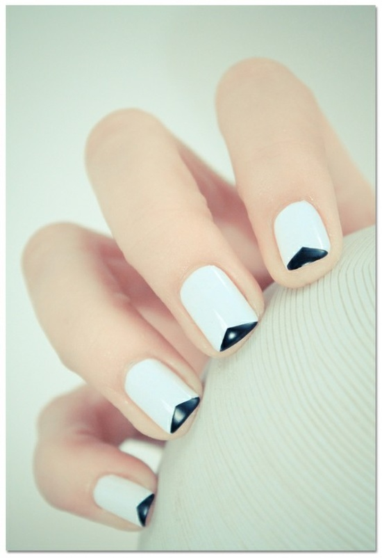 White Nails with Triangle design